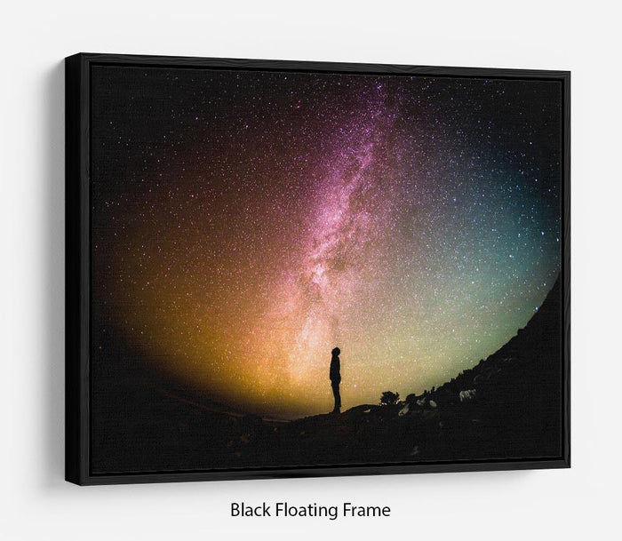 Space Man At Night Floating Frame Canvas