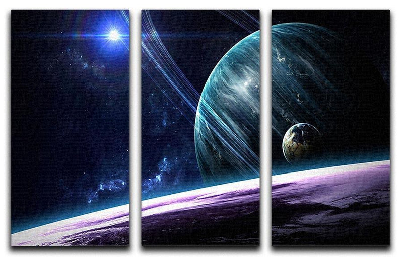 Space Planets 3 Split Panel Canvas Print - Canvas Art Rocks - 1