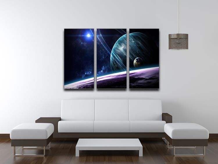 Space Planets 3 Split Panel Canvas Print - Canvas Art Rocks - 3