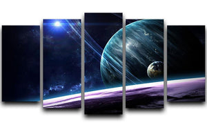 Space Planets 5 Split Panel Canvas  - Canvas Art Rocks - 1