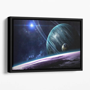 Space Planets Floating Framed Canvas