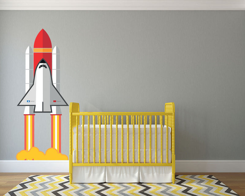 Space Ship Take Off Wall Decal - Canvas Art Rocks