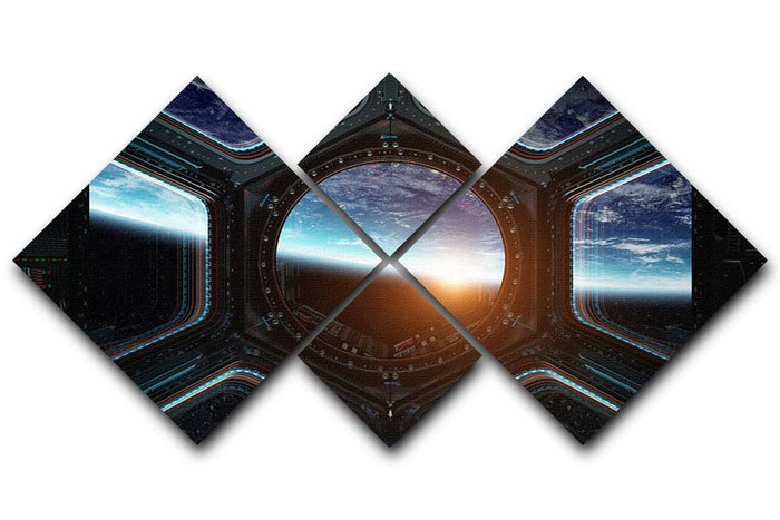 Space Ship Window 4 Square Multi Panel Canvas