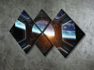 Space Ship Window 4 Square Multi Panel Canvas - Canvas Art Rocks - 2