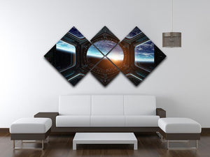 Space Ship Window 4 Square Multi Panel Canvas - Canvas Art Rocks - 3