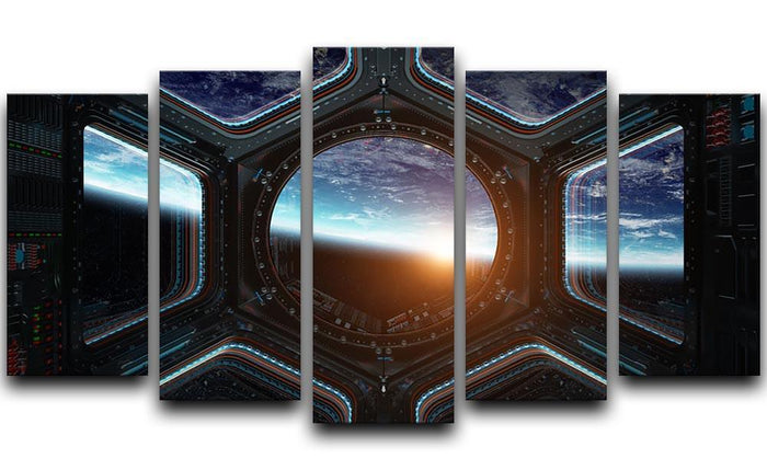 Space Ship Window 5 Split Panel Canvas