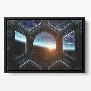 Space Ship Window Floating Framed Canvas
