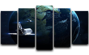 Space Shuttle Flying Back To Earth 5 Split Panel Canvas  - Canvas Art Rocks - 1