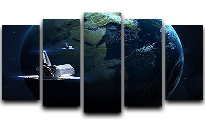 Space Shuttle Flying Back To Earth 5 Split Panel Canvas