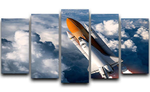 Space Shuttle Launch In The Clouds 5 Split Panel Canvas  - Canvas Art Rocks - 1