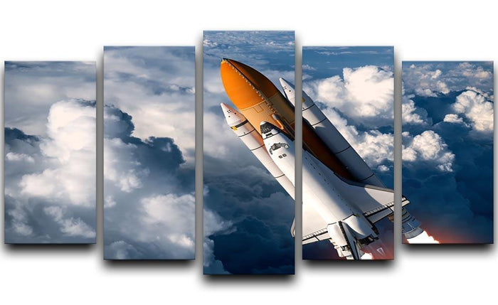 Space Shuttle Launch In The Clouds 5 Split Panel Canvas
