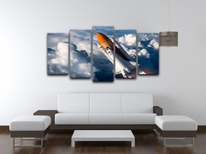 Space Shuttle Launch In The Clouds 5 Split Panel Canvas - Canvas Art Rocks - 3
