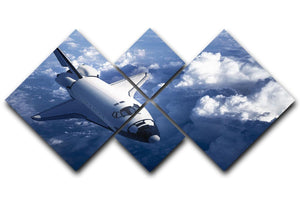 Space Shuttle in the Clouds 4 Square Multi Panel Canvas  - Canvas Art Rocks - 1