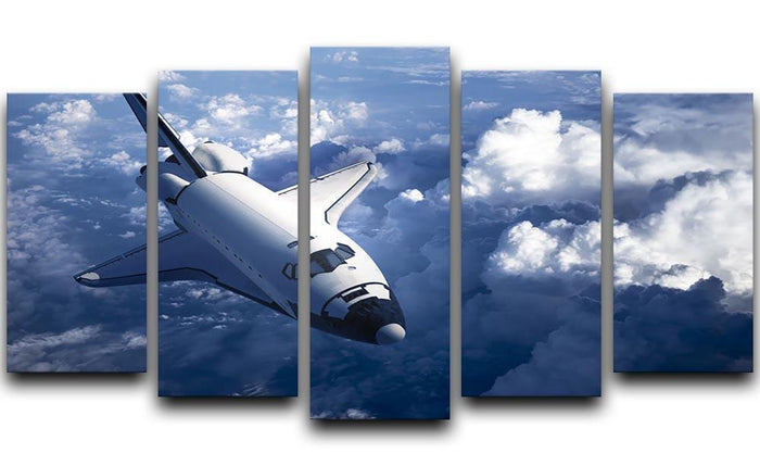 Space Shuttle in the Clouds 5 Split Panel Canvas