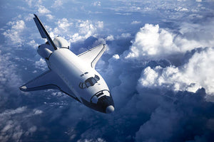 Space Shuttle in the Clouds Wall Mural Wallpaper - Canvas Art Rocks - 1
