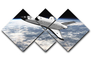 Space Shuttle leaving earth 4 Square Multi Panel Canvas  - Canvas Art Rocks - 1