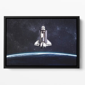 Space Shuttle on a mission Floating Framed Canvas