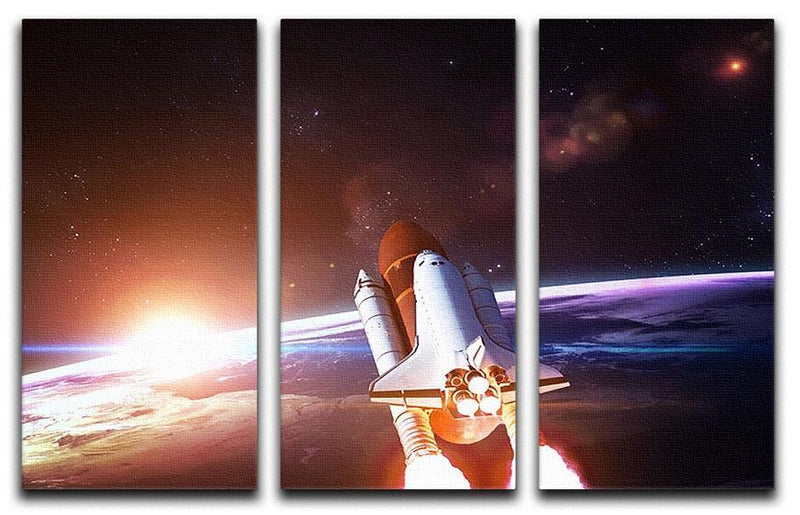 Space Shuttle over the Earth 3 Split Panel Canvas Print - Canvas Art Rocks - 1