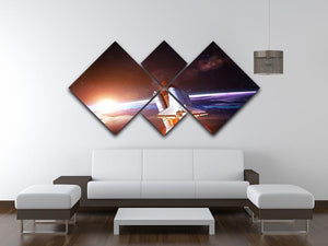 Space Shuttle over the Earth 4 Square Multi Panel Canvas - Canvas Art Rocks - 3