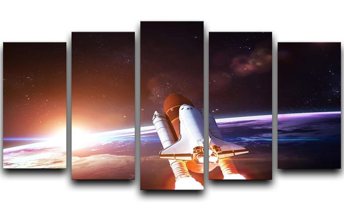 Space Shuttle over the Earth 5 Split Panel Canvas