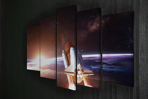 Space Shuttle over the Earth 5 Split Panel Canvas - Canvas Art Rocks - 2