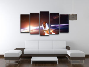 Space Shuttle over the Earth 5 Split Panel Canvas - Canvas Art Rocks - 3