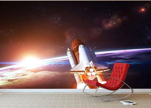 Space Shuttle over the Earth Wall Mural Wallpaper - Canvas Art Rocks - 2