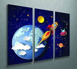 Space rocket launch and galaxy 3 Split Panel Canvas Print - Canvas Art Rocks - 2
