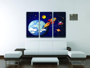 Space rocket launch and galaxy 3 Split Panel Canvas Print - Canvas Art Rocks - 3