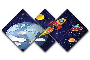 Space rocket launch and galaxy 4 Square Multi Panel Canvas  - Canvas Art Rocks - 1