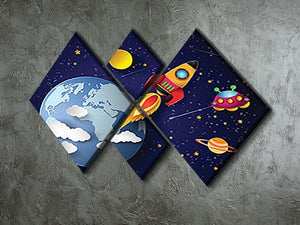 Space rocket launch and galaxy 4 Square Multi Panel Canvas - Canvas Art Rocks - 2