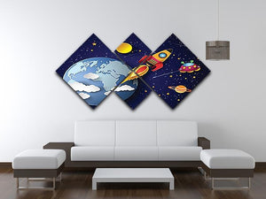 Space rocket launch and galaxy 4 Square Multi Panel Canvas - Canvas Art Rocks - 3