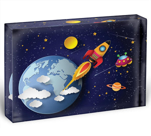 Space rocket launch and galaxy Acrylic Block - Canvas Art Rocks - 1