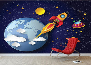 Space rocket launch and galaxy Wall Mural Wallpaper - Canvas Art Rocks - 2