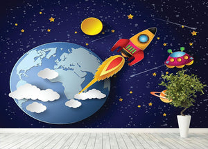 Space rocket launch and galaxy Wall Mural Wallpaper - Canvas Art Rocks - 4