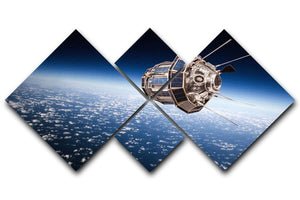 Space satellite orbiting the earth 4 Square Multi Panel Canvas  - Canvas Art Rocks - 1