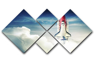Space shuttle taking off on a mission 4 Square Multi Panel Canvas  - Canvas Art Rocks - 1