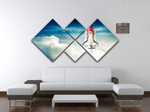 Space shuttle taking off on a mission 4 Square Multi Panel Canvas - Canvas Art Rocks - 3