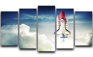 Space shuttle taking off on a mission 5 Split Panel Canvas  - Canvas Art Rocks - 1
