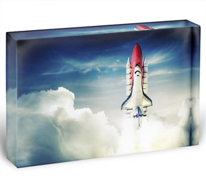 Space shuttle taking off on a mission Acrylic Block - Canvas Art Rocks - 1