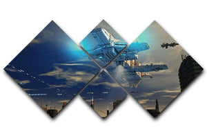 Spaceship UFO and City 4 Square Multi Panel Canvas  - Canvas Art Rocks - 1