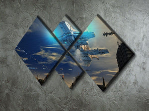 Spaceship UFO and City 4 Square Multi Panel Canvas - Canvas Art Rocks - 2