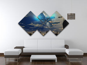 Spaceship UFO and City 4 Square Multi Panel Canvas - Canvas Art Rocks - 3