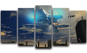Spaceship UFO and City 5 Split Panel Canvas  - Canvas Art Rocks - 1