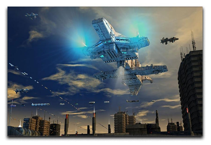 Spaceship UFO and City Canvas Print or Poster