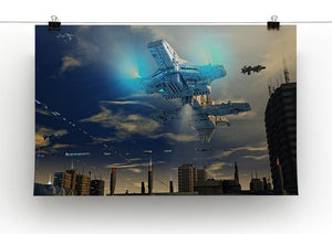 Spaceship UFO and City Canvas Print or Poster - Canvas Art Rocks - 2