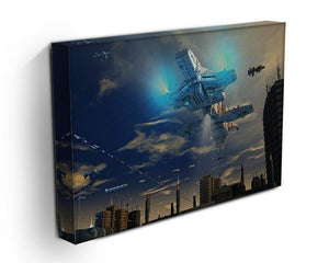 Spaceship UFO and City Canvas Print or Poster - Canvas Art Rocks - 3