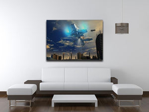 Spaceship UFO and City Canvas Print or Poster - Canvas Art Rocks - 4