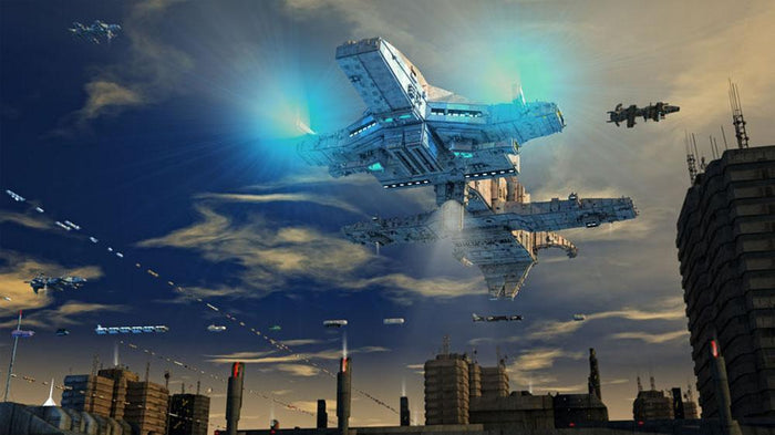 Spaceship UFO and City Wall Mural Wallpaper