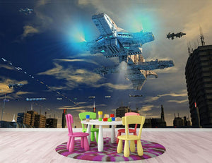 Spaceship UFO and City Wall Mural Wallpaper - Canvas Art Rocks - 3